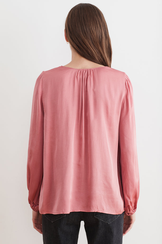 JUDITH SATIN VISCOSE PEASANT BLOUSE IN DUSTY ROSE