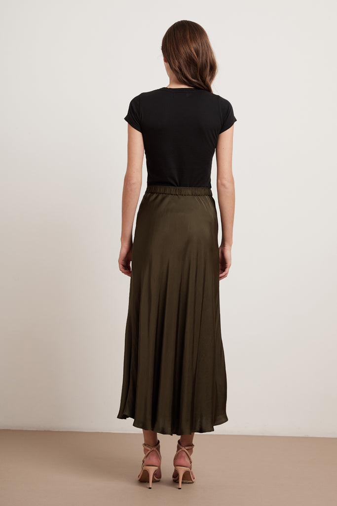SHELBY SATIN VISCOSE SKIRT IN ELM