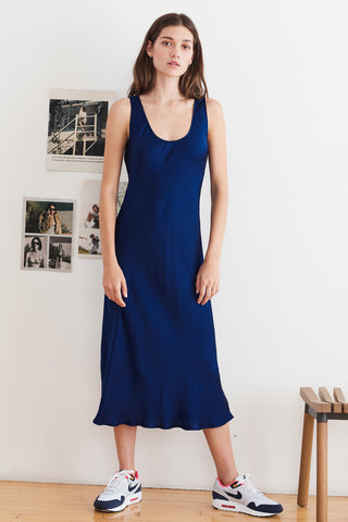 URSULA SATIN VISCOSE TANK DRESS IN NAVAL