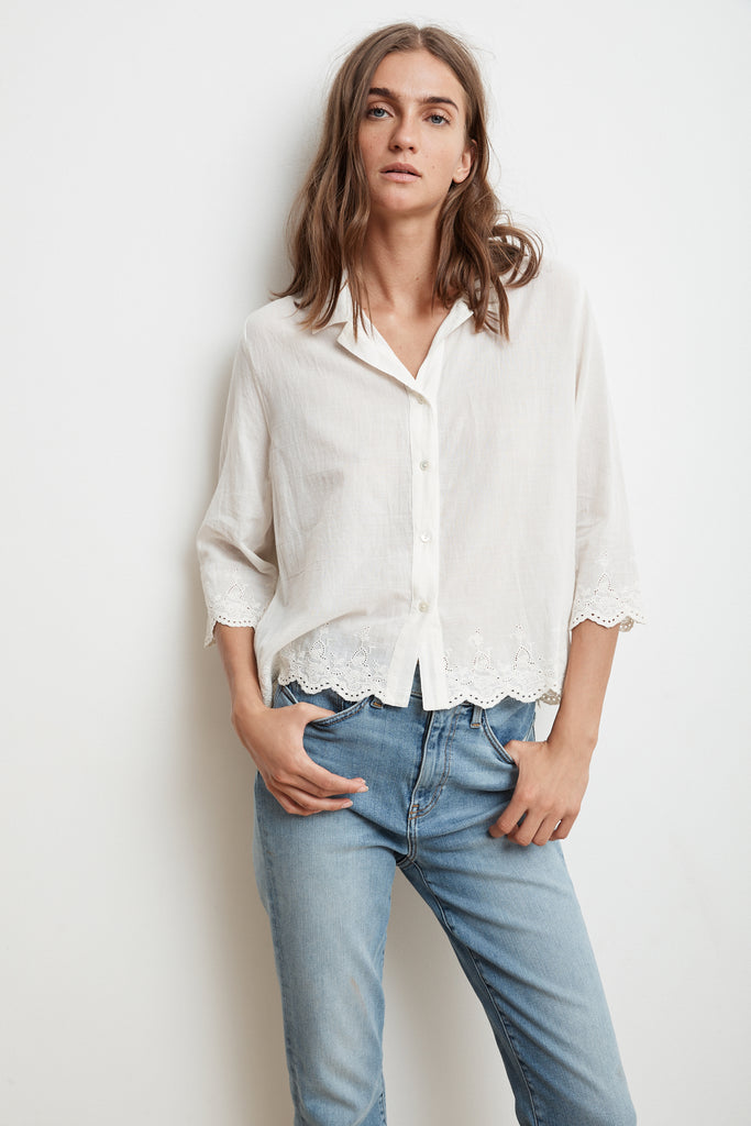 WINDSOR SCHIFFLI LACE BUTTON-UP SHIRT IN OFF WHITE