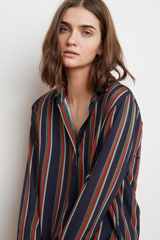 ROSEMOND STRIPE CHALLIS POPOVER IN MULTI