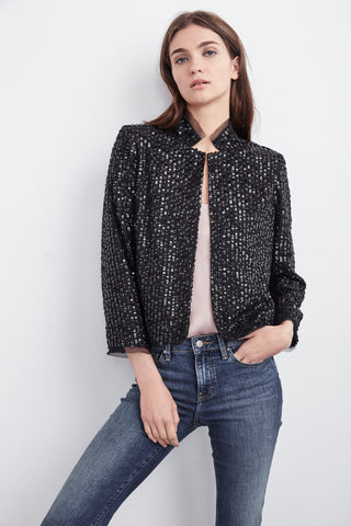 RAZI SEQUINS MOCK NECK JACKET IN BLACK
