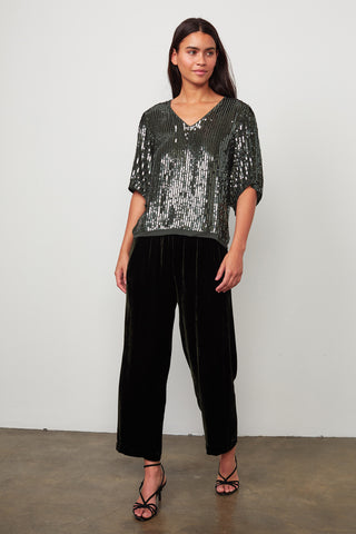 KAREN SEQUIN BLOUSE IN GREEN
