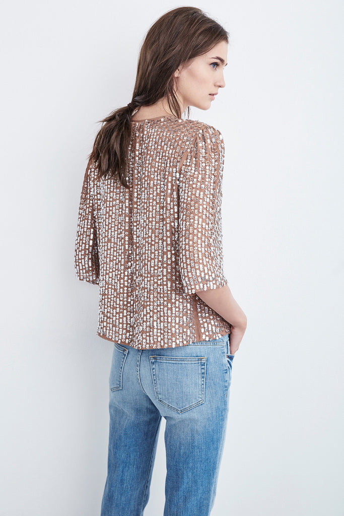 WENN SEQUIN TOP IN TAUPE