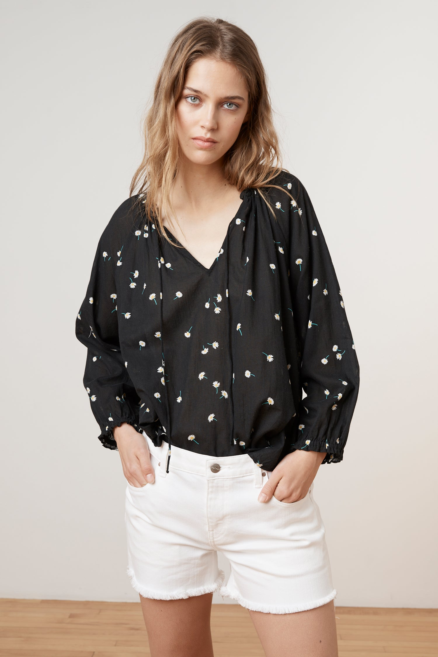 FREYA SHEER PRINTED GAUZE PEASANT TOP IN SHASTA