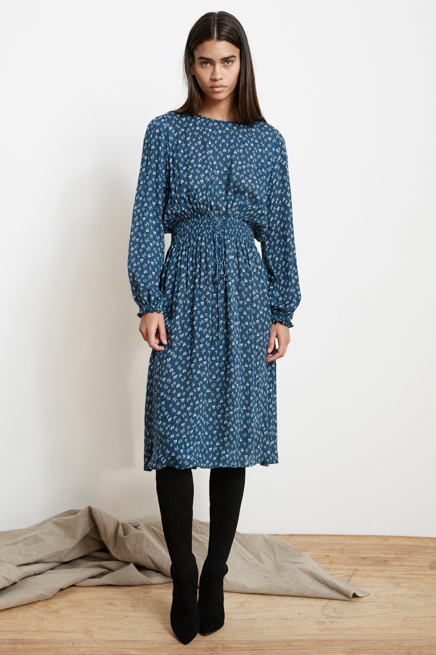SHIVAN SHEER PRINTED GAUZE SMOCKED WAIST DRESS IN BLUE SPRUCE