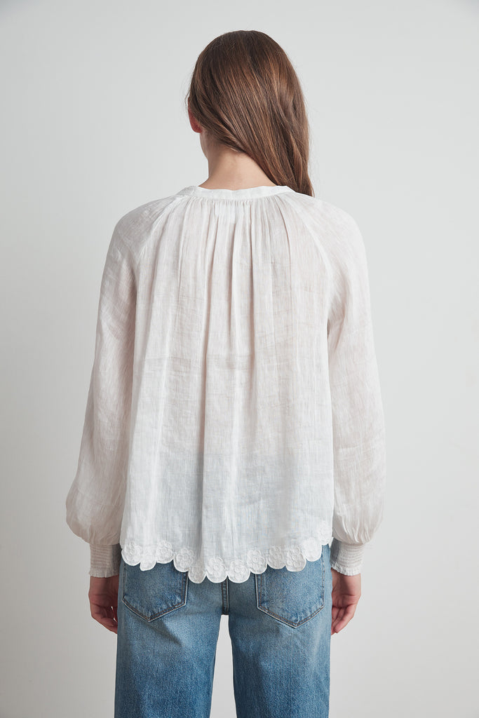 GEORGIA SCHIFFLI LACE BLOUSE IN WHITE