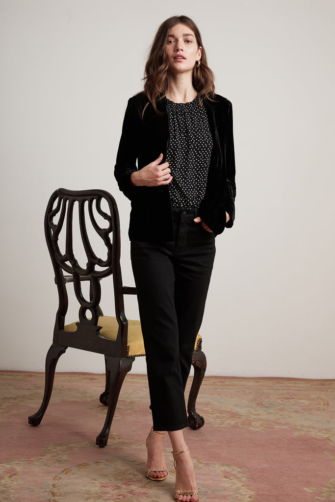 BONNY SILK VELVET JACKET IN BLACK