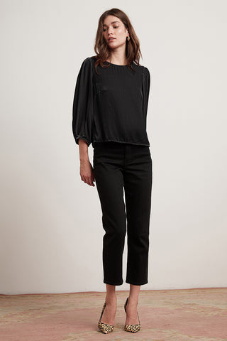 BRENDA SILK VELVET TOP IN BLACK