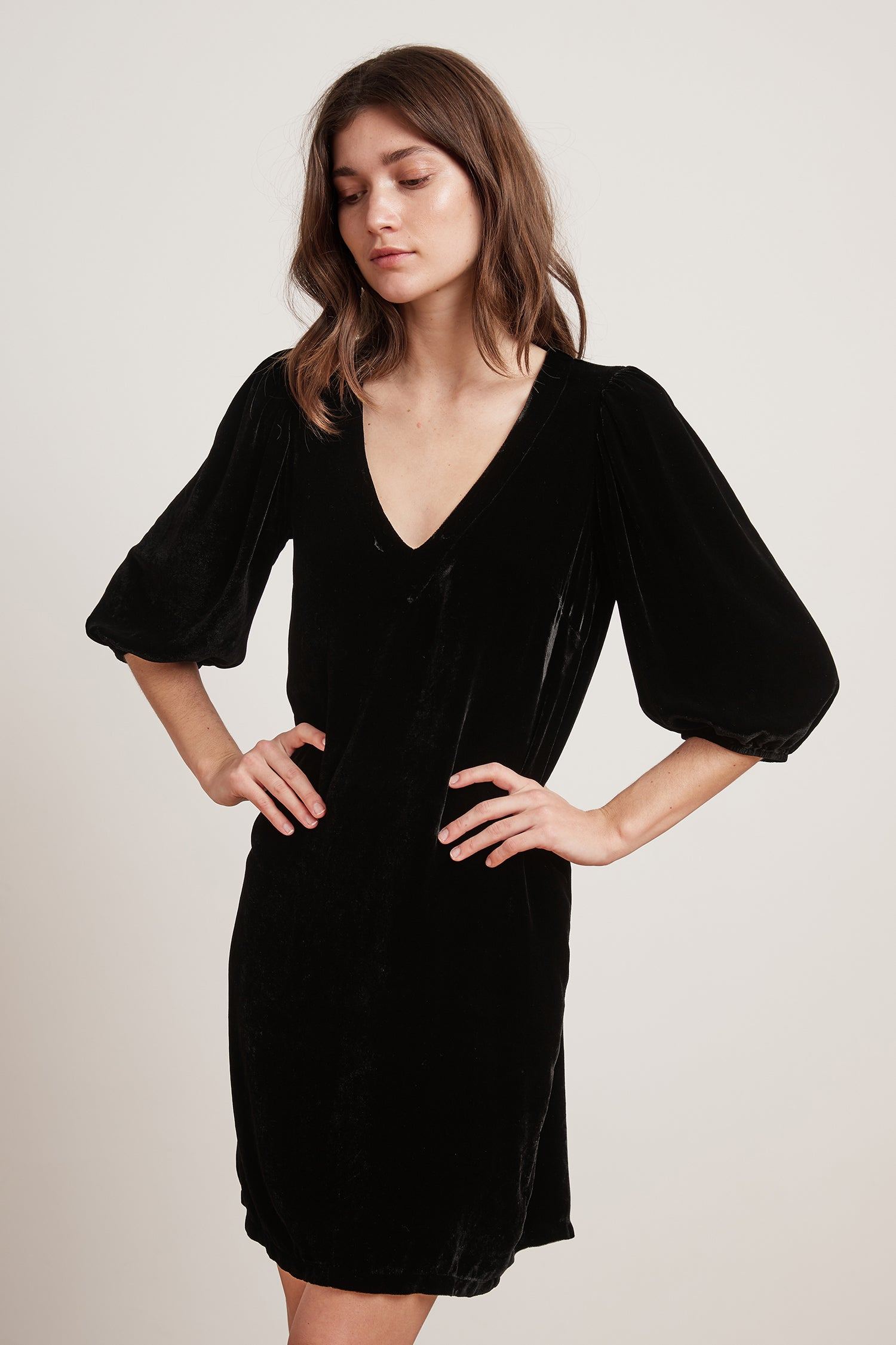CARISSA SILK VELVET DRESS IN BLACK
