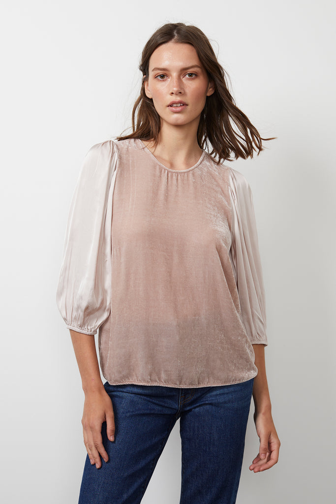 ELISE SILK VELVET CONTRAST TOP IN RIBBON