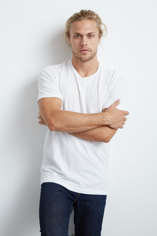 ARDEN COTTON SLUB CREW NECK TEE IN WHITE