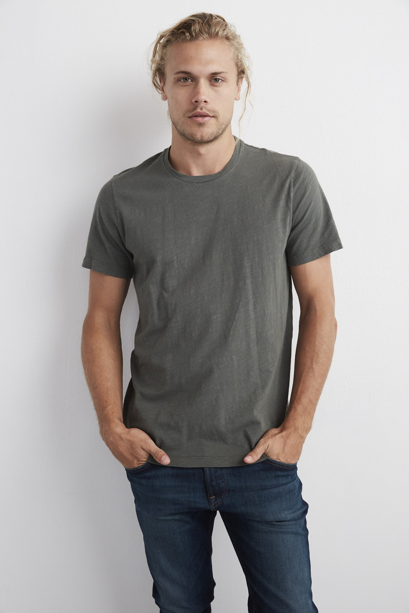 ARDEN COTTON SLUB CREW NECK TEE IN EXHAUST