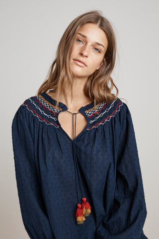 TRUDIE SMOCKED EMBROIDERED PEASANT TOP IN NAVY