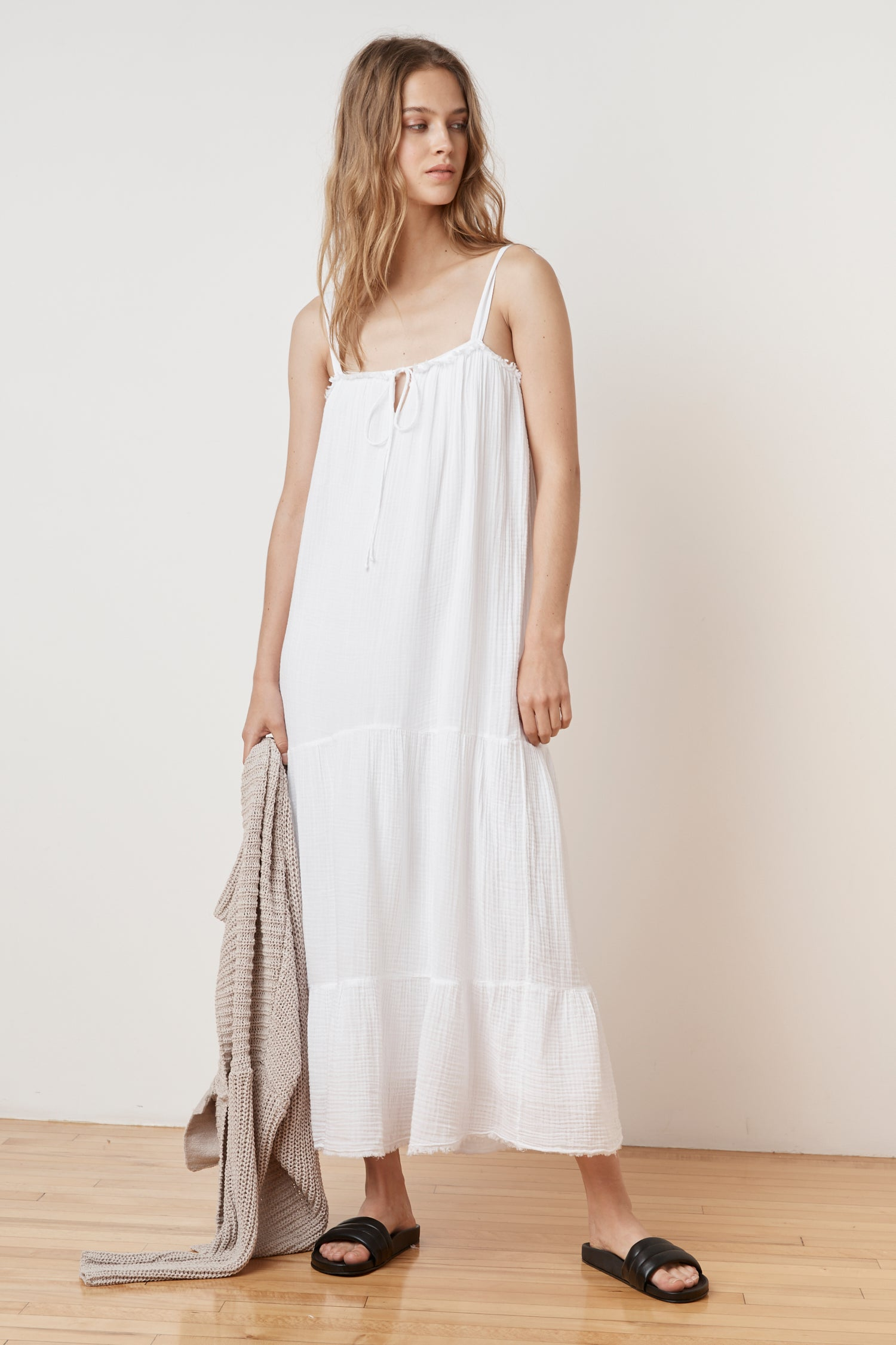 CELINDA SOFT COTTON GAUZE MAXI DRESS IN WHITE