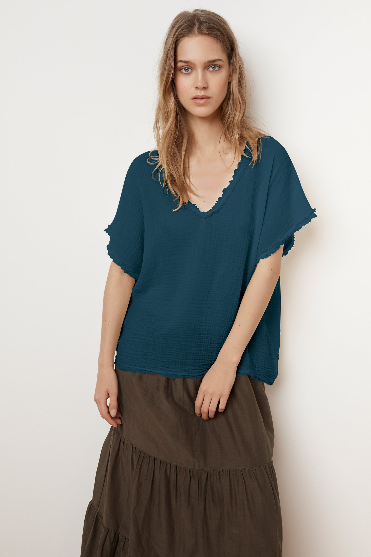 DENISA SOFT COTTON GAUZE V-NECK TOP IN AQUARIA