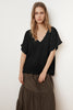 DENISA SOFT COTTON GAUZE V-NECK TOP IN BLACK