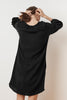 LAVERNE SOFT COTTON GAUZE PEASANT DRESS IN BLACK