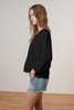 MIFFY SOFT COTTON GAUZE PEASANT TOP IN BLACK