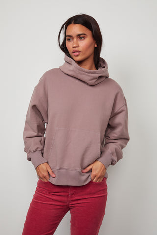 ORA SOFT FLEECE FUNNEL NECK HOODIE IN RAISIN