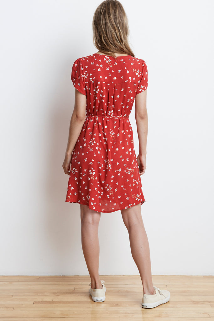 AMAURY SPRING FLORAL CHALLIS WRAP DRESS IN AMARYLLIS