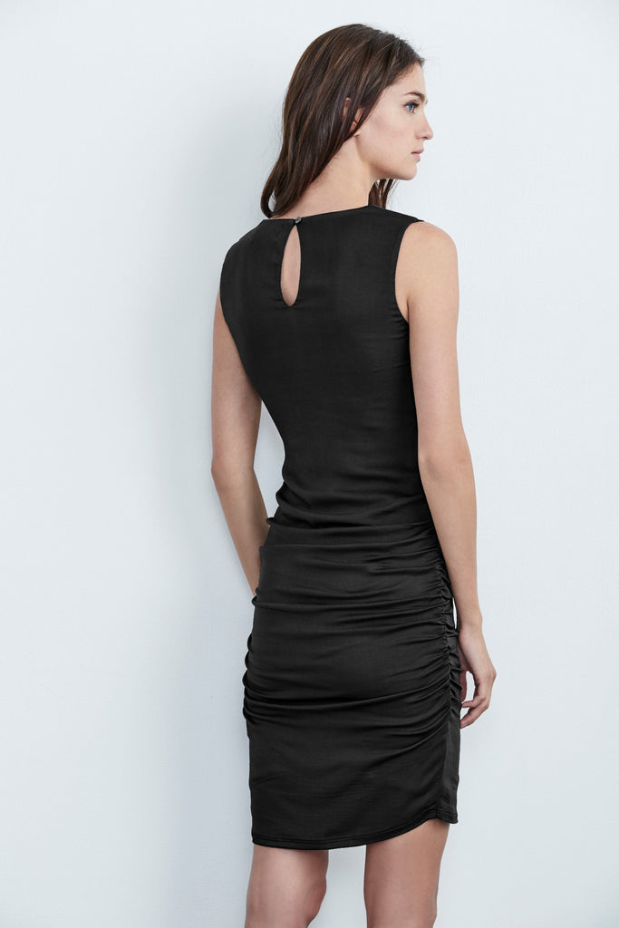 ABREGA STRETCH SATIN SLEEVELESS DRESS IN BLACK