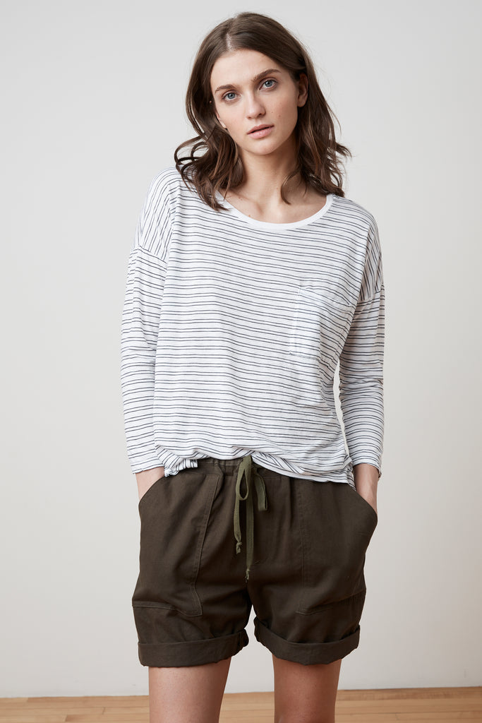 MANUKA STRIPE COTTON KNIT 3/4 SLEEVE POCKET TEE IN WHITE