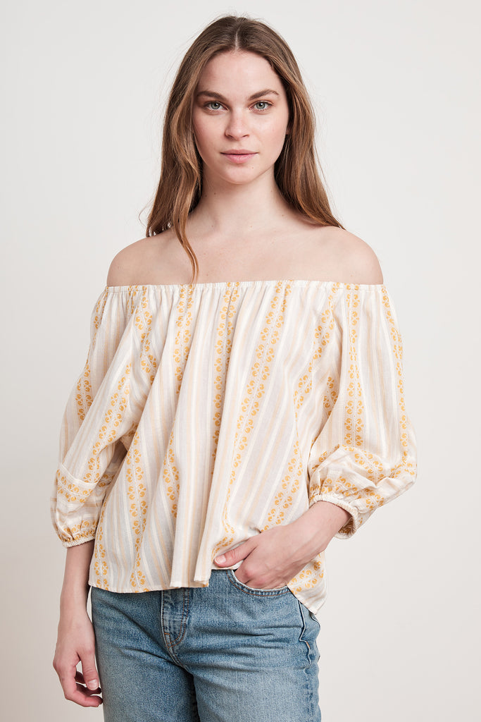 VIVIETTE STRIPE JACQUARD TOP IN CUMIN
