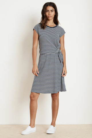 84e54c27fc6 MITZI STRIPE LINEN KNOT DRESS IN BLUE ...