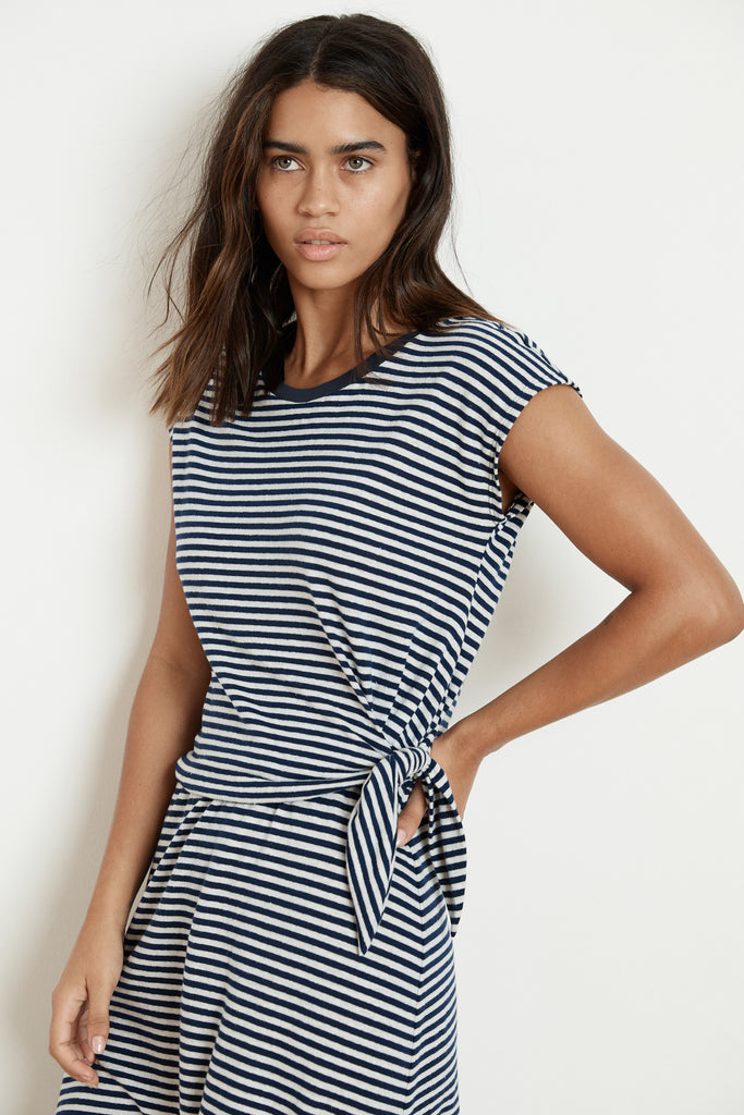 MITZI STRIPE LINEN KNOT DRESS IN BLUE