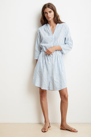 LACY STRIPE WOVEN SHIRT DRESS IN BLUE