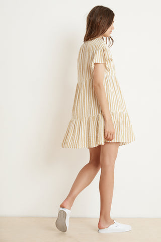 NIKKI STRIPE WOVEN SHORT SLEEVE RUFFLE DRESS IN YELLOW