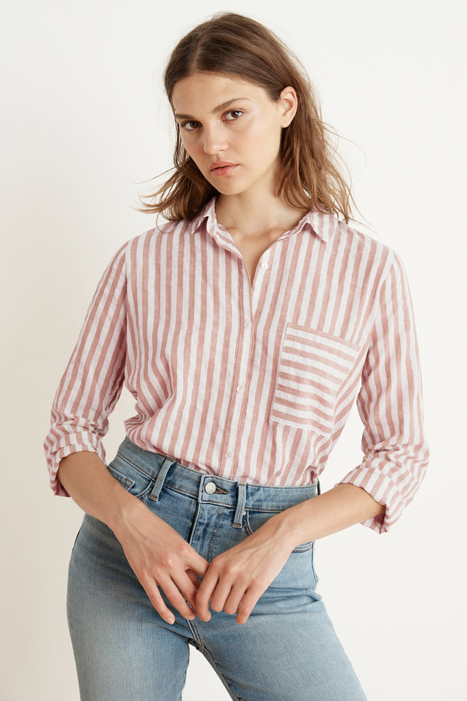 TAMMY STRIPE WOVEN LONG SLEEVE BUTTON-UP SHIRT IN PINK
