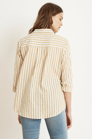 TAMMY STRIPE WOVEN LONG SLEEVE BUTTON-UP SHIRT IN YELLOW