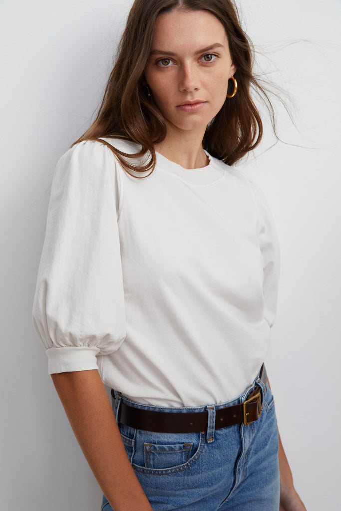 KADE PUFF SLEEVE TOP IN BEACH