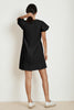 MOLLIE STRUCTURED COTTON PUFF SLEEVE DRESS IN BLACK