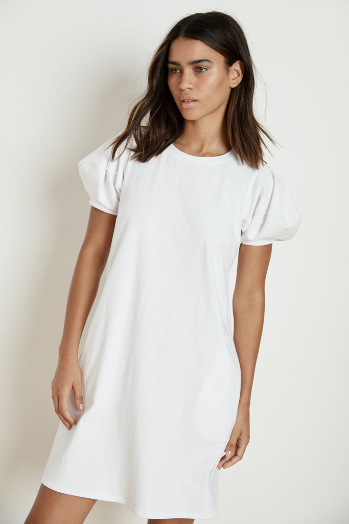 MOLLIE STRUCTURED COTTON PUFF SLEEVE DRESS IN WHITE