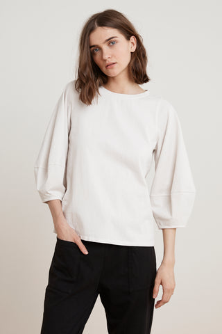 JENICA STRUCTURED COTTON PUFF SLEEVE TOP IN BEACH