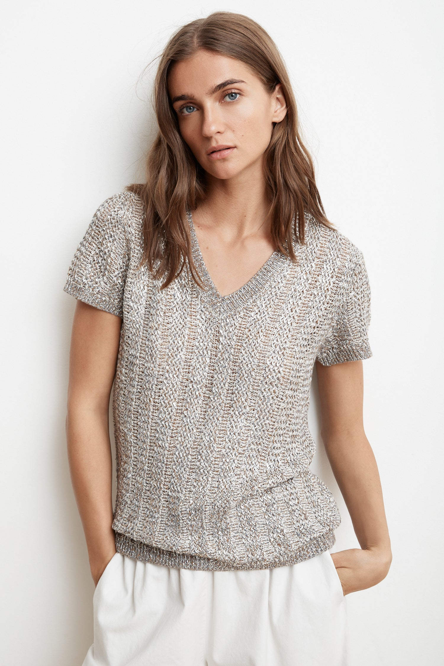 BOBBI METALLIC KNIT SHORT SLEEVE TOP IN MULTI