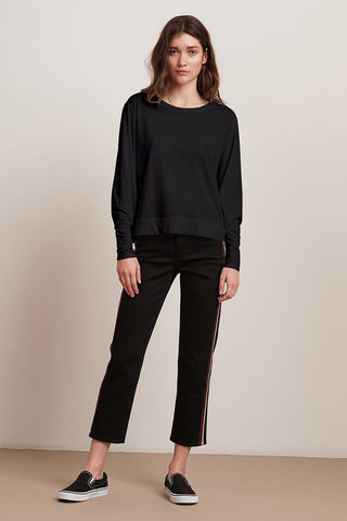 JACKLYN SUEDED JERSEY TOP IN BLACK