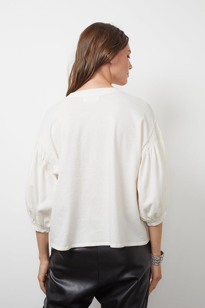 PRUDY SUEDED JERSEY 3/4 SLEEVE TOP IN COCONUT