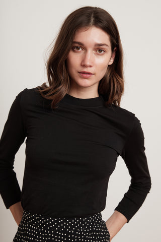 QUINNY SUEDED JERSEY LONG SLEEVE TEE IN BLACK