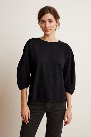 VANESSA SUEDED JERSEY CROPPED SLEEVE TOP IN BLACK