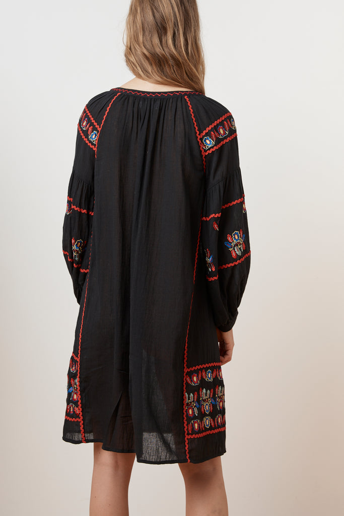 LOANE EMBROIDERED COTTON PEASANT DRESS IN BLACK