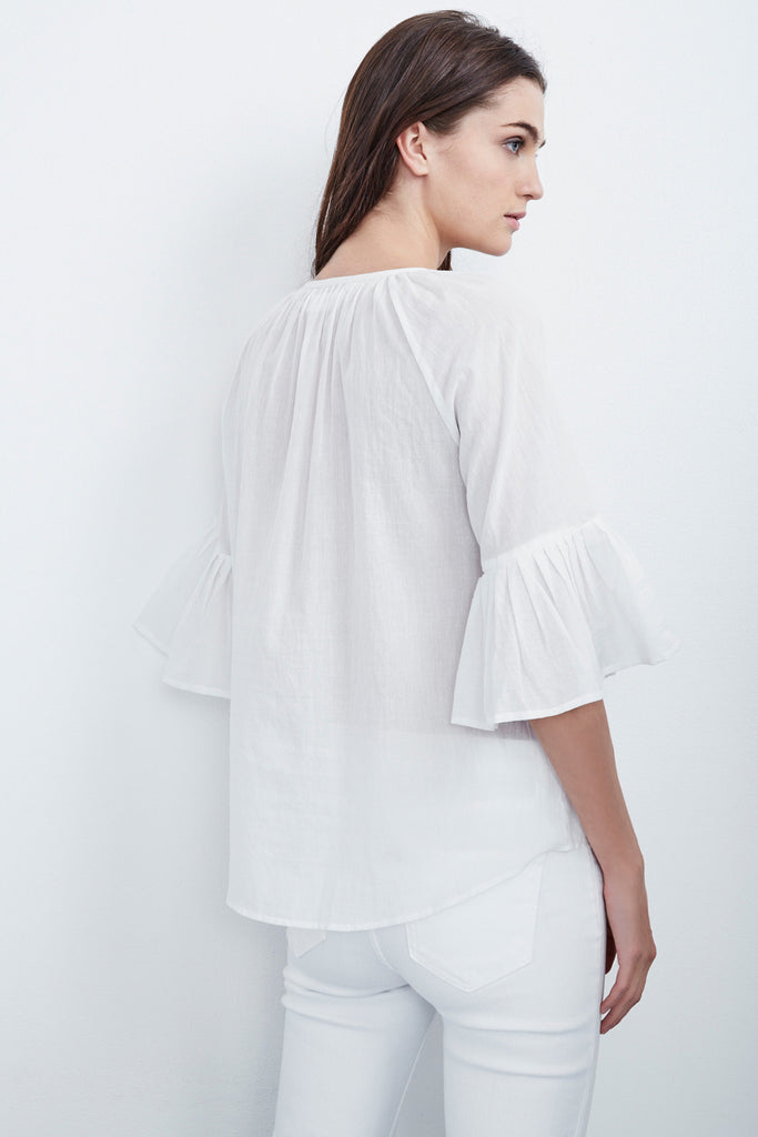 CELINA SUMMER VOILE PLEATED TOP IN CREAM