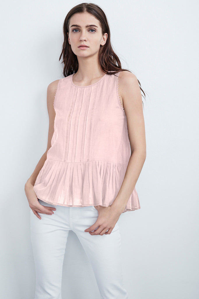 KAYDIN SUMMER VOILE PLEATED SLEEVELESS TOP IN PINK