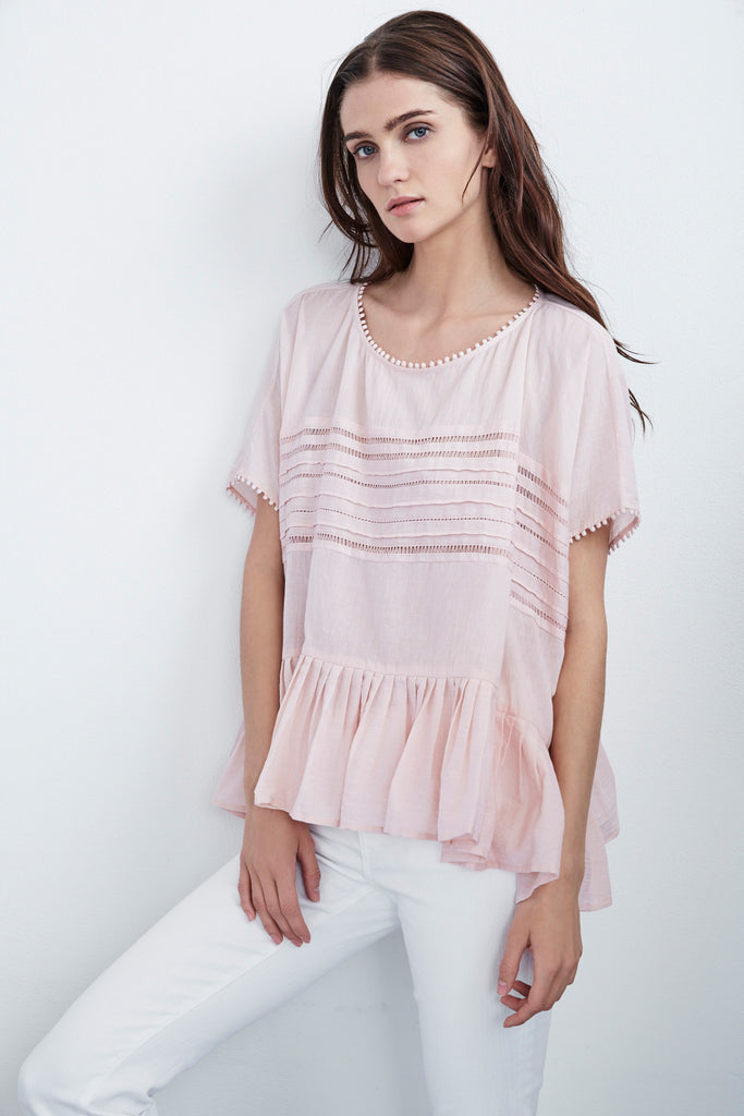 MADI SUMMER VOILE PLEATED DOLMAN TOP IN PINK