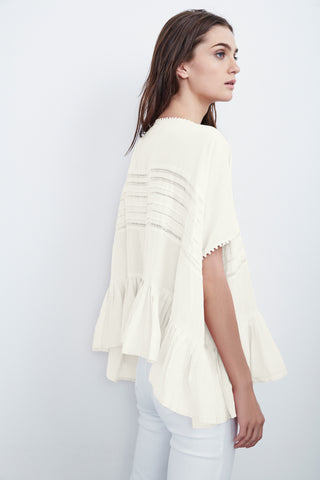 MADI SUMMER VOILE PLEATED DOLMAN TOP IN CREAM