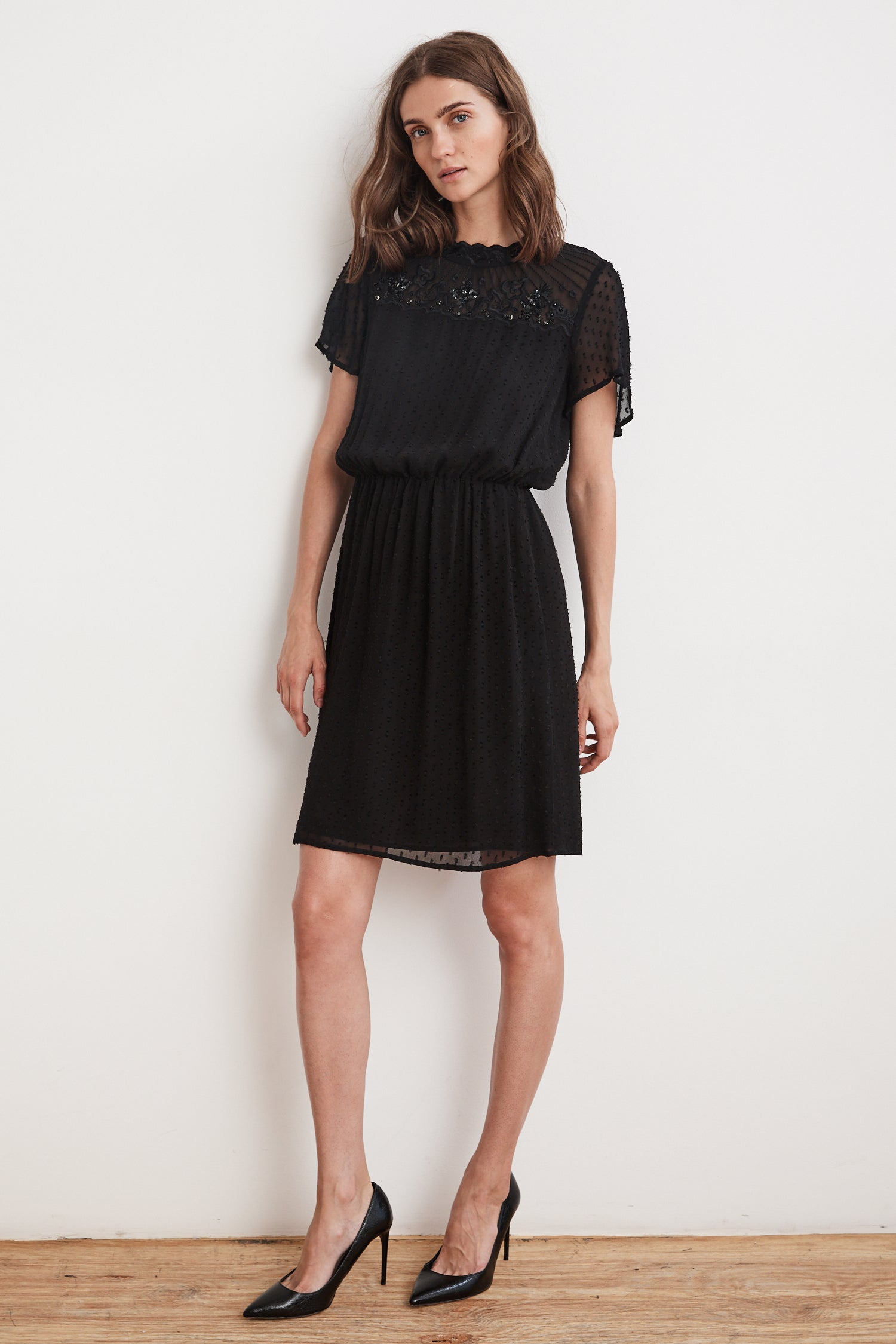 ABERDINE SWISS DOT EMBELLISHED DRESS IN BLACK