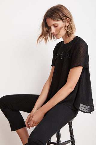 SHERLEEN SWISS DOT BEADED BLOUSE IN BLACK